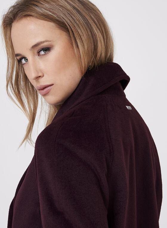 Novelti - Manteau aspect laine à col revers drapé, Rouge, hi-res
