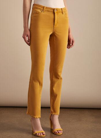 Jeans à jambe étroite et ourlet frangé , Jaune,  jeans, jambe étroite, ourlet frangé, poches, ourlet frangé, coton, printemps été 2020
