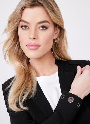 Open Front Grommet Detail Blazer, Black, hi-res
