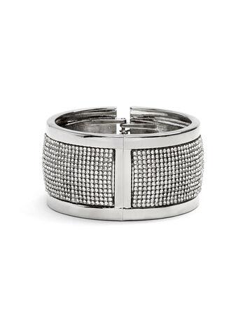 Wide Crystal Hinge Bracelet, Silver, hi-res