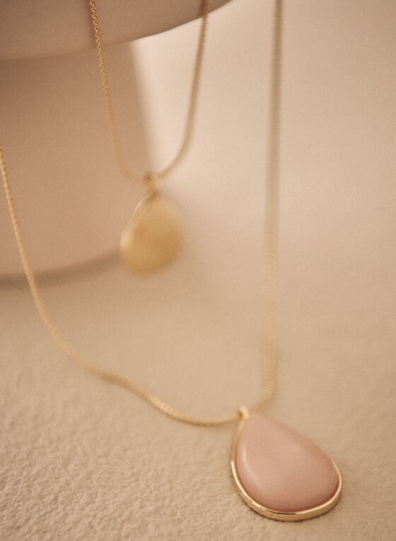 Two Tier Pendant Necklace, Pink