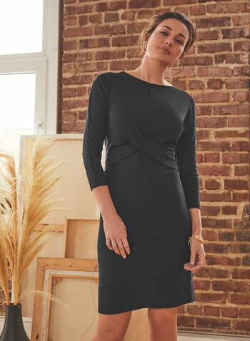 Robe droite à détail croisé , Noir,  printemps été 2021, robe, robe noire, droite, encolure ras-du-cou, manches 3/4, détail croisé, coupe genou, fait au canada