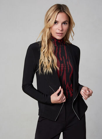 Zipper Trim Top, Black, hi-res,  Canada, top, open front, long sleeves, zipper trim, fall 2019, winter 2019