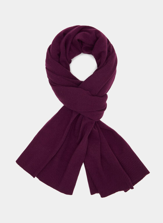 Wool Blend Scarf, Purple, hi-res