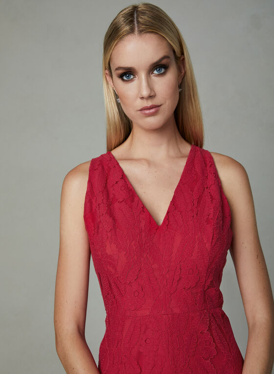 Maggy London - Ruffle Hem Lace Dress, Red, hi-res