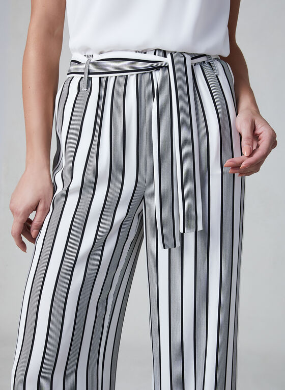 Linea Domani - Stripe Print Pants, Black, hi-res