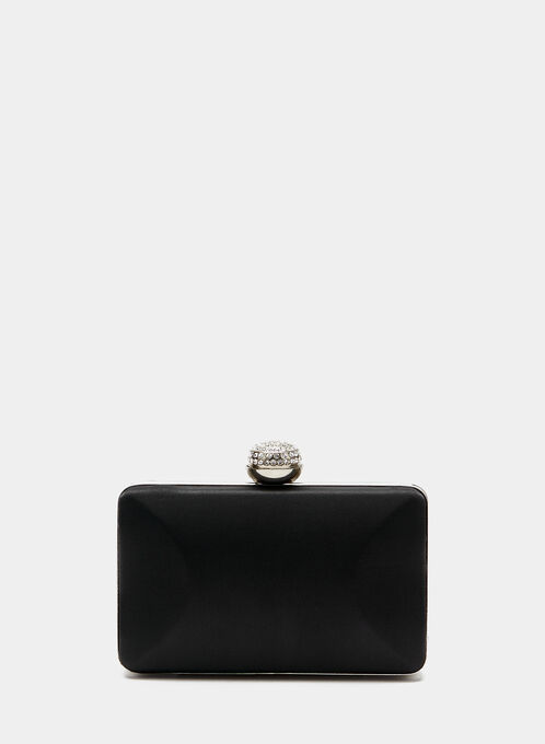 Crystal Clasp Box Clutch , Black, hi-res