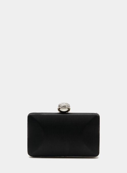Crystal Clasp Box Clutch , Black, hi-res