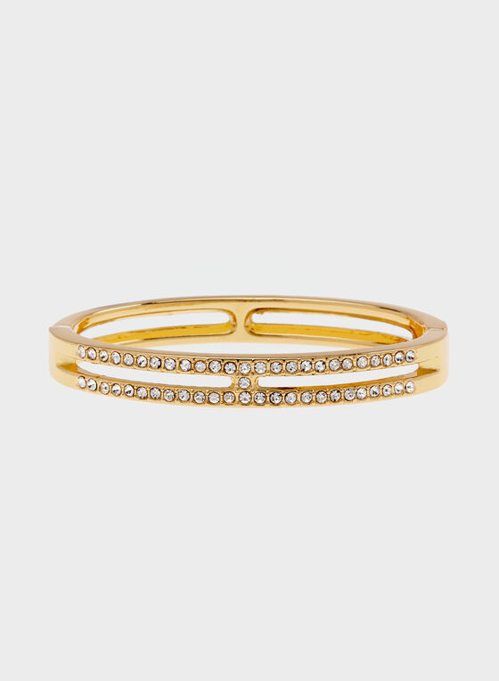 Crystal Encrusted Hinge Bangle, Gold, hi-res