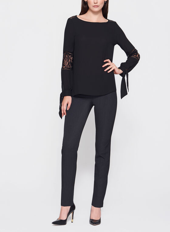 Long Sleeve Crepe Blouse , Black, hi-res