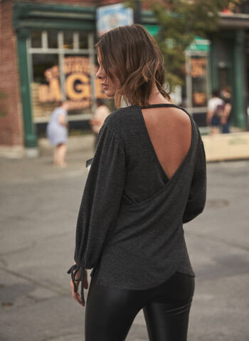 Open Back Balloon Sleeve Top, Grey,  fall 2021, sweater, shirt, top, open back, crisscross, boat neckline, long sleeves, puffed sleeves, tie detail, side slits, comfy, knit, soft, fabric, state