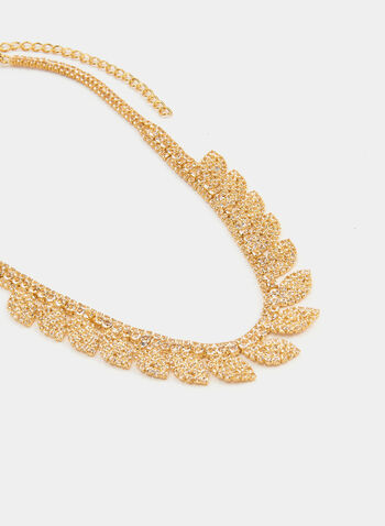 Short Crystal Necklace, Gold,  necklace, short chain, crystal, fall winter 2019