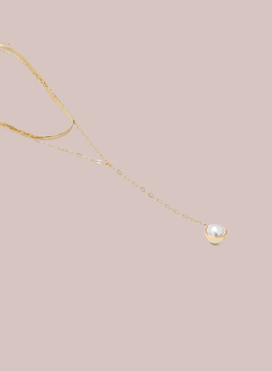 Pearl Pendant Y Necklace, Off White