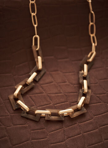 Resin Square Chain Link Necklace, Brown,  spring summer 2021, jewellery, jewelry, accessories, necklace, resin, open square, square, chain link, golden, metallic