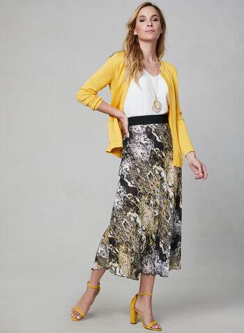 Paisley Print Chiffon Skirt, White, hi-res