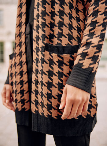 Houndstooth Print Cardigan, Black,  fall 2021, sweater, cardigan, top, open front, long sleeves, front pockets, contrast, border, band, hem, cuffs, houndstooth print, pattern, motif, comfy
