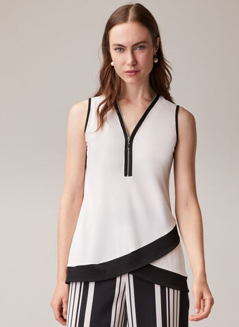 Sleeveless Contrast Blouse, Off White,  blouse, sleeveless, contrast, zipper, v-neck, contrast, jersey, tulip hemline, spring summer 2020