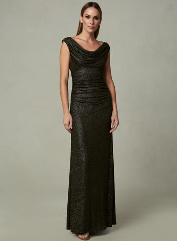 Cachet - Drape Neck Sequin Dress, Black, hi-res