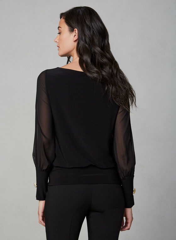 Chiffon Sleeve Top, Black