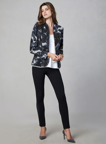Frank Lyman - Open Front Jacket, Black,  Canada, Frank Lyman, floral, open front, long sleeves, fall 2019, winter 2019