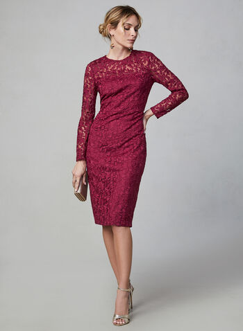 Maggy London - Long Sleeve Lace Dress, Red, hi-res,  dress, evening dress, cocktail dress, midi dress, midi, slim, lace, long sleeves, pearl, fall 2019, winter 2019