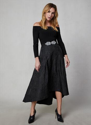 Jacquard Skirt, Black, hi-res,  high-low skirt, jacquard, skirt, full skirt, tulle, fall 2019, winter 2019,
