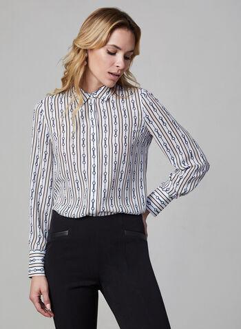 Chemisier à motif de rayures et chaînes, Blanc,  automne hiver 2019, chemisier, chemise, manches longues, boutons, blouse, haut, motif, chaînes, rayures