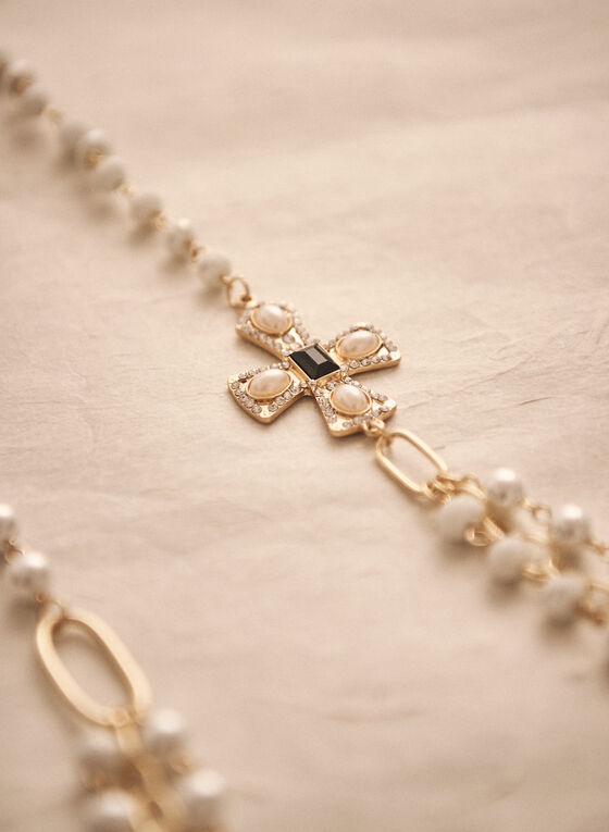 Collier en chaîne et perles avec croix, Blanc cassé