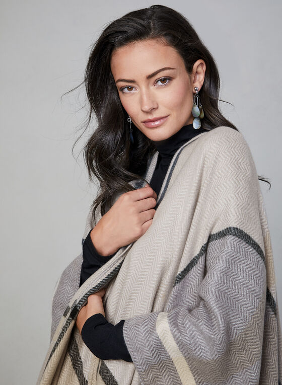 Plaid Print Poncho, Grey
