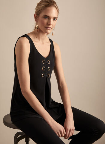 Frank Lyman - Eyelet Detail Sleeveless Top, Black,  top, sleeveless, jersey, eyelet, pleated, flared, scoop neck, spring summer 2020