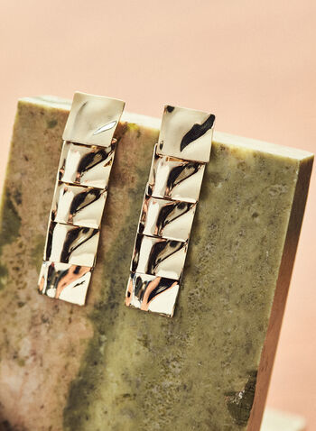Tiered Square Earrings , Gold,  jewellery, accessories, earrings, square, tiered, metallic wavy, hammered, dangle, spring summer 2021