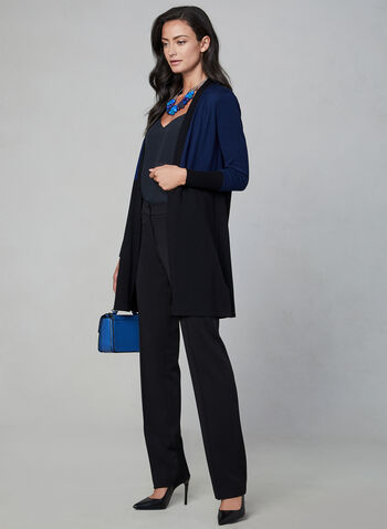 Open Front Knit Cardigan, Blue,  cardigan, open front, knit, colour block, fall 2019, winter 2019