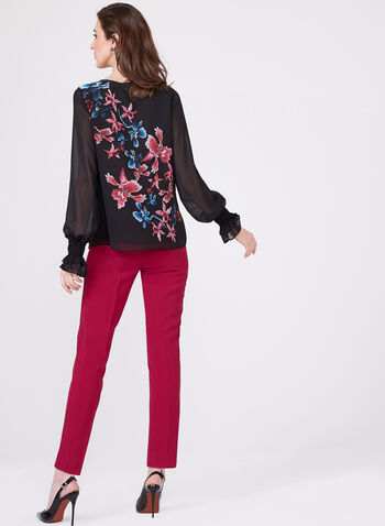 Ruched Ruffled Sleeve Lily Floral Chiffon Blouse, Black, hi-res