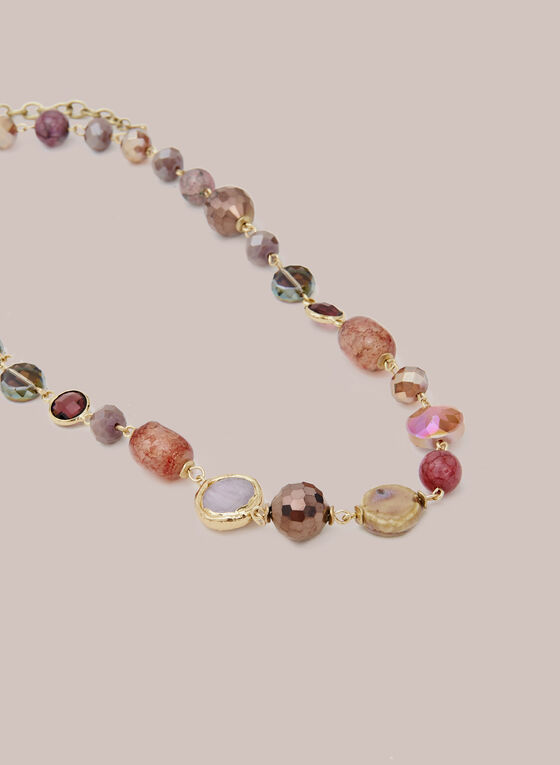 Multi-Colour Stone Necklace, Pink