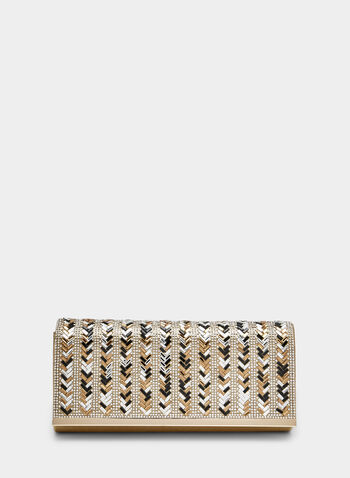 Crystal Embellished Clutch, Gold, hi-res