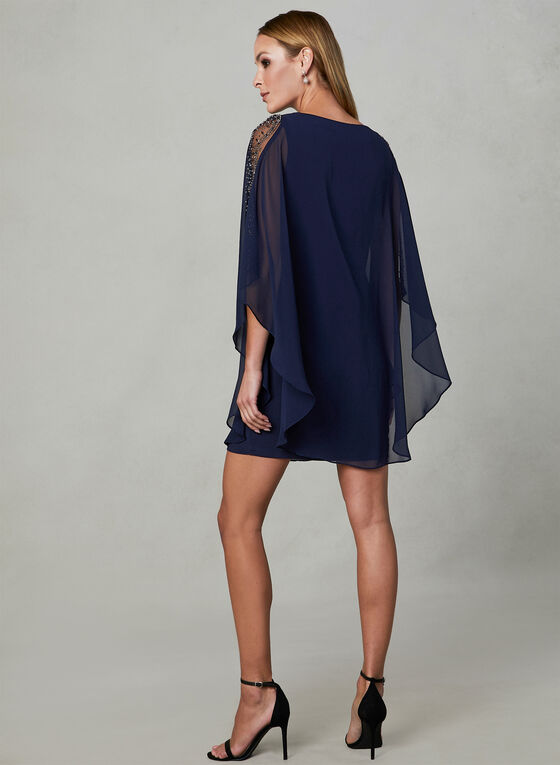 BA Nites - Embellished Chiffon Dress, Blue, hi-res