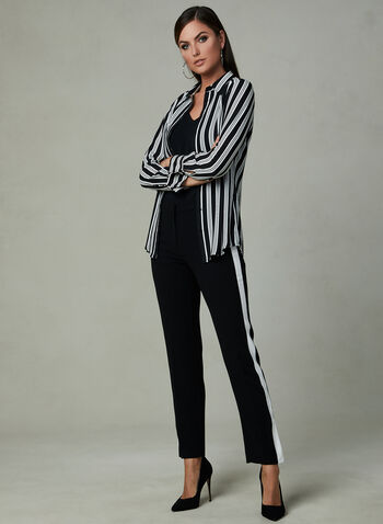 Stripe Print Crepe Blouse, Black, hi-res