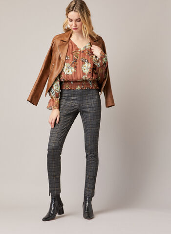 Floral Print Blouson Top, Brown,  blouson, top, floral, ruffled, smocked, v-neck, fall winter 2020
