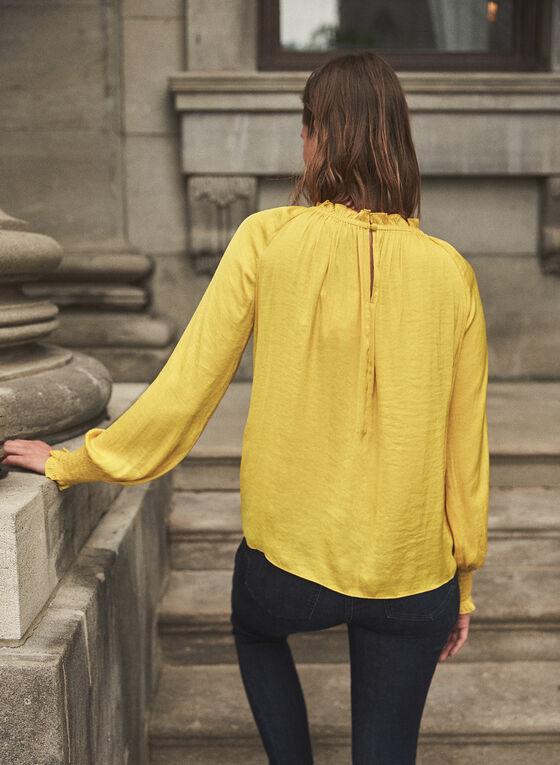 Keyhole Detail Smocked Blouse, Yellow