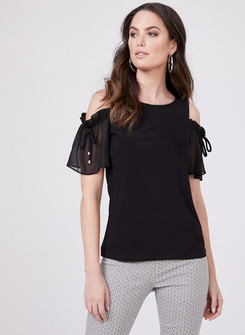 Cold Shoulder Tie Detail Blouse, Black, hi-res
