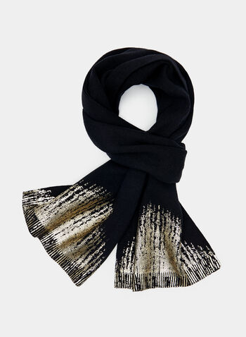 Metallic Knit Scarf, Black, hi-res