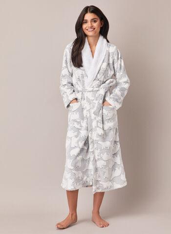Polar Bear Motif Plush Robe, Grey,  sleepwear, robe, polar bear, fall winter 2020