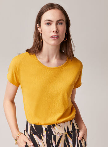 Alison Sheri - Short Sleeve Top, Yellow,  top, round neck, short sleeves, cotton blend, linen, spring summer 2020