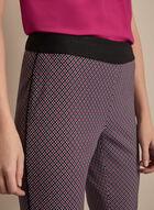 Pantalon pull-on motif géométrique, Noir