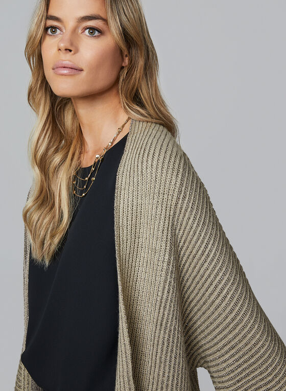 Open Front Knit Cardigan, Off White, hi-res