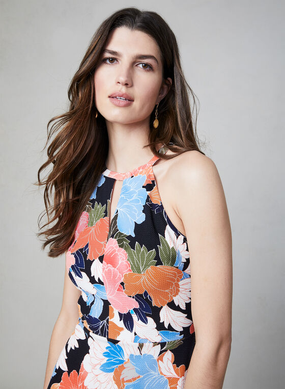 Maggy London - Floral Print Sleeveless Dress, Blue