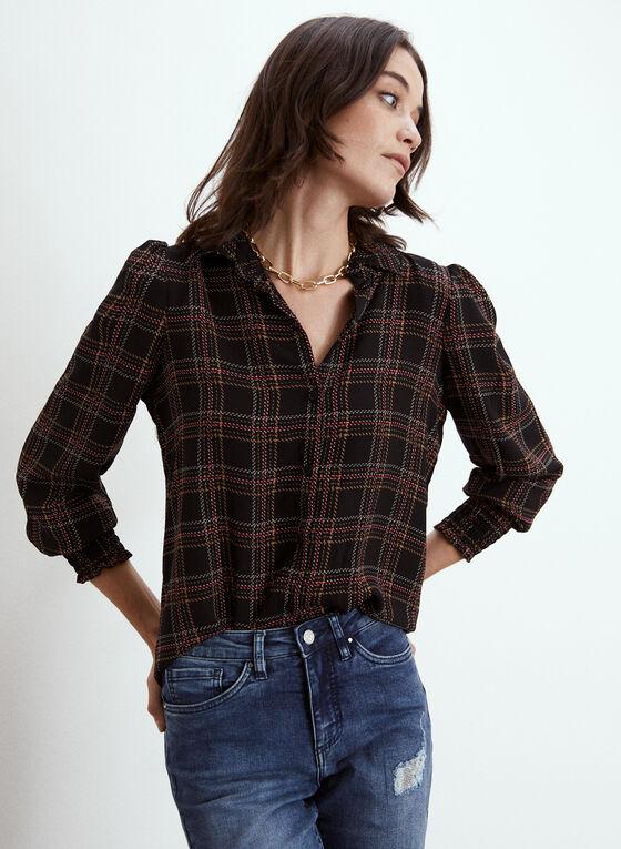 Long Sleeve Plaid Shirt, Black