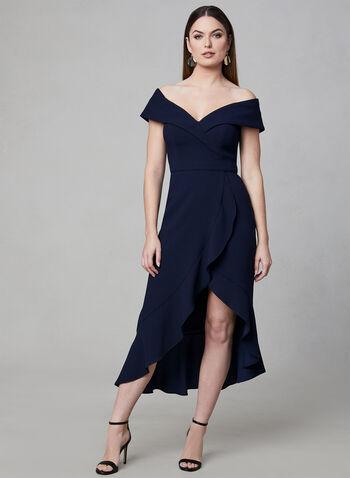 BA Nites - Sweetheart Neckline Midi Dress, Blue, hi-res,  off-the-shoulder, crepe, high-low, ruffles, faux wrap, spring 2019