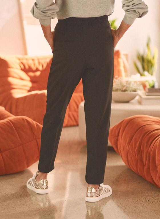 Pantalon décontracté avec liens, Noir
