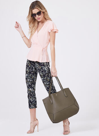 Palm Print Pull-On Capri Pants, Black, hi-res